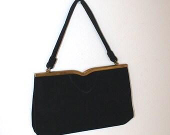 50% OFF SALE Vintage 1950s BLACK Velvet Party Purse . 50s Formal Evening Bag . Ingler Prom Handbag . Coin Purse & Mirror