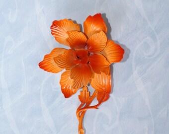 1960s Orange Floral Brooch . 60s HEDY Vintage Enamel Flower Brooch Pin