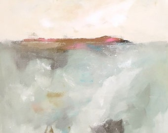 Calm Abstract Seascape Original Painting- Pink Accent Horizon 24 x 36