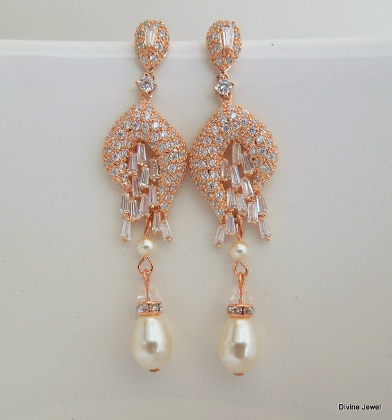 Rose Gold Chandeliers EarringsRose Gold by DivineJewel on Etsy