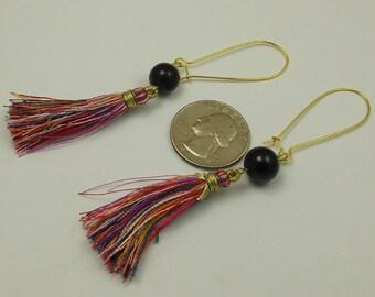 Multi Color Tassel Long Kidney Wire Earrings, Gold Plated Black Beaded
