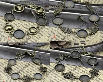 One strands 10mm,12mm,14mm Antique Brass Adjustable bracelet Base,round blank pad,bangle findings,bracelet findings
