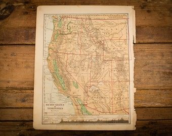 "1871 Pacific States USA Map, 12"" x 9.5"", Antique Illustrated Book Page, 1800s"