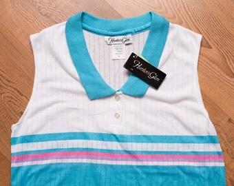 Hunter's Glen Teal Sleeveless Tennis Style Shirt New w/Tags, Vintage 80s