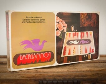 SEALED Backgammon Board Game, Wood Pieces, S & R Company, Vintage 70s