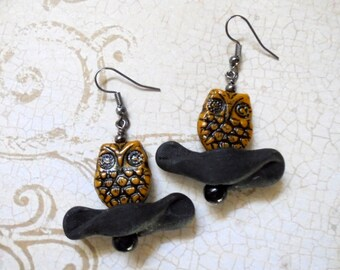 Black and Mustard Yellow Owl Earrings (2939)