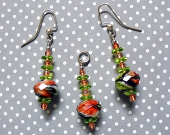 Lime, Orange and Black Necklace and Earrings (0433)