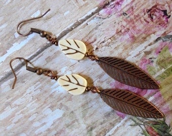 Ivory and Copper Leaf Earrings (2600)