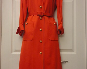 David Heyes For Fifth Saks Avenue sz 6 Red Wool Shirt Dress
