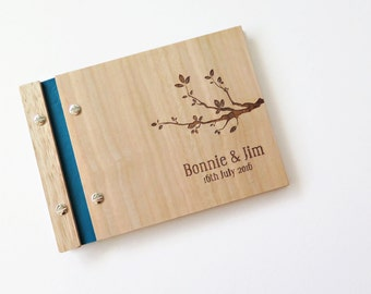 Guest Book Wedding. Wood Guestbook. Wedding Album. Engagement Gift : leafy branch