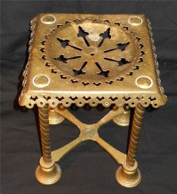 Antique Victorian Brass Footman Vintage Fireplace Trivet Pot