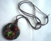 Multicolor Jasper Necklace, Rainbow Jasper Pendant, Pyrite and Jasper Jewelry, Multicolor Pendant, Gypsy Pendant, Choker Necklace