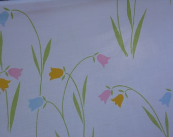 Dan River vintage pillowcase floral with tulips in pastel pink yellow and blue with long green leaves  pink and blue butterflies