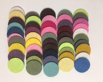 Wool Felt Circles 50 - 1 inch Random Colored 3452 - felted circle - circle die cut - headband supplies
