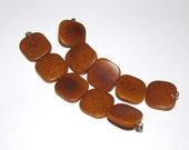 Five Amber Tagua Nut Beads, Flat Square Beads, 19mm Beads, Natural Beads, Organic Beads, Vegetable Ivory Beads, EcoBeads