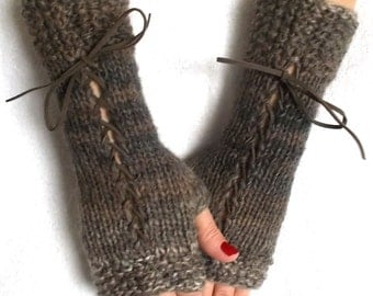 Corset Wrist Warmers Fingerless Gloves  in Natural Brown Shades Variegated with Suede Ribbons Victorian Style with Mohair Angora