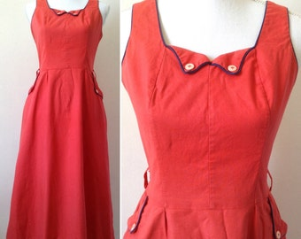 French made in Paris 40s red cotton summer dress Sz M