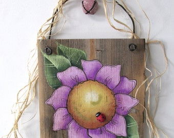 Purple Flower, Hand Painted on Reclaimed Barn Wood, Rustic Barn Wood, Reclaimed Barn Wood, Hand or Tole Painted, Hanging Art, Summer Flower