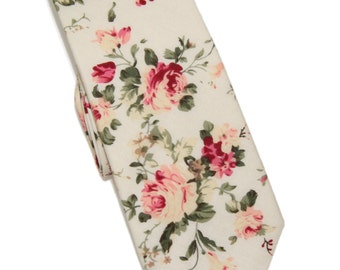 "Men's Slim Ivory / Pink Floral Neck Tie - 2"" Wide"