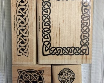 Stampin' Up retired 2001, set of 4 rubber stamps. Celtic Knots. Clearance, priced to go.