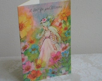 Vintage Wedding Card by Crystal USA, Unused Greeting Card, High Fashion Woman With Updo Hair In Long Pink Dress, Watercolor Flowers