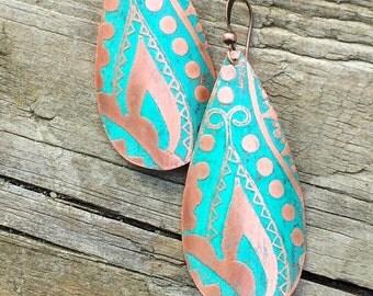 Bohemian Jewelry Earrings, Copper Boho Earrings Dangle, Tribal Jewelry Earrings, Copper Jewelry Earrings, Etched Copper Earrings