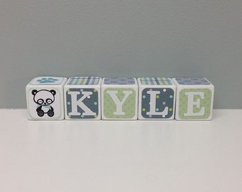 Baby Name Blocks, Word Blocks, Panda Theme Baby Shower Decorations