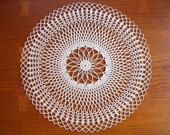 Light Cream Crocheted Doily, 13 inch off white, Heirloom Quality, Crochet Lace, CozyHomeCrochet