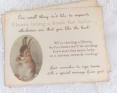 Bunny Tea Party Bring a Book Insert Card Baby Shower Invitation Insert Set of 10