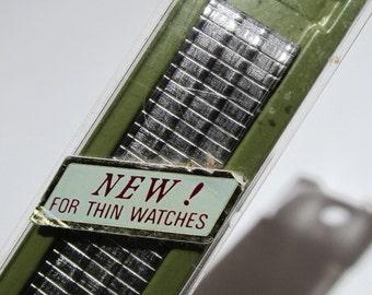 Vtg Men's Speidel stretch 3/4 inch wide watch band stainless steel silver 34R