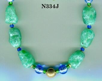 Vintage Venetian  Murano Lampwork Bead Necklace, Royal, Jade, Blue. 2 Colors N334