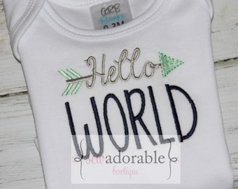 Hello World Bodysuit or Baby Gown -Perfect Baby Shower Gift - Coming Home Outfit - New Mom to Be - Boy or Girl - Gender Neutral