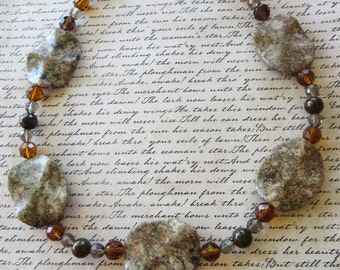 Wavy Jasper Bronzite And Earth Toned Crystal Beaded Necklace