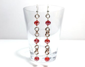 Red Crystal Silver and Copper Beaded Chainmaille Dangle Earrings