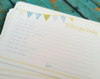 ON SALE Wishes for Baby Boy Cards - Unique Baby Shower Activity Game or Memory Book Idea - Blue and Yellow