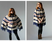Boho Crochet Knit Poncho Cape- Navy Hippie Rock & Roll Fringe Zig Zag Shawl