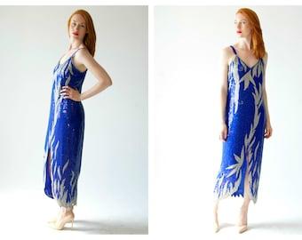 Vintage Blue Sequin Dress, Gown- 80s does 20s, M, Flapper Dress, Silver Sequin, Burlesque Costume, Retro Evening Dress, Cruise Ship Chic