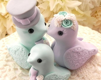 Family Love Birds Wedding Cake Topper, Mint Green, Lilac, Grey and Cream, Bride and Groom Keepsake