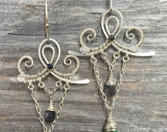 ON SALE Butterfly chandelier earrings in sterling silver with turquoise and iolite gemstones