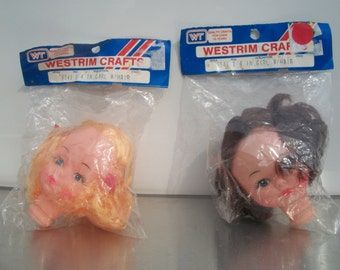 Vintage Westrim Soft Plastic Doll Head With Hair