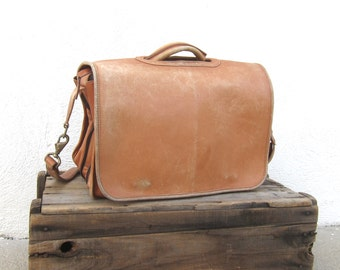 Distressed Briefcase Expandable Tan Leather Messenger Bag