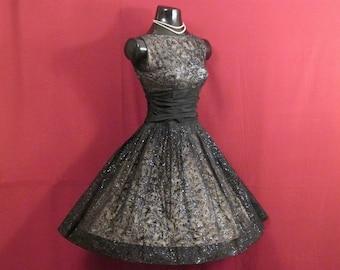 Vintage 1950's 50s Black Flocked Chiffon Organza Taffeta Flamenco Dancers Party Prom DRESS Gown