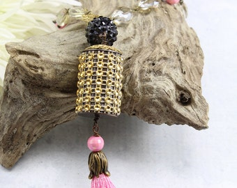 Pink Tassel Necklace, Bohemian Jewelry, Long Boho Pendant Necklace, Gold Tassel Necklace, Copper Tassel Necklace, Gift for Her - TA5