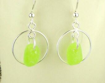 Genuine Sea Glass Earrings,  Lime Green Silver Hoop Earrings, Sterling Silver Dangle Earrings, Beach Earrings, Beach Jewelry, Gift For Her