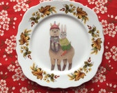 Alpaca and Bunny Vintage Illustrated Day Plate