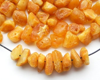 50 pcs - Natural Baltic amber beads, raw,egg yolk amber color, 6-9 mm at widest part (#55)
