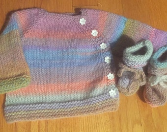 Baby Girl's Sweater and Bootie Set