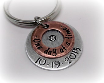 Sobriety Gift Sobriety Keychain One Day At A Time Sobriety Key Chain Addiction Recovery Sobriety Date Gift AA One Day At A Time Keychain