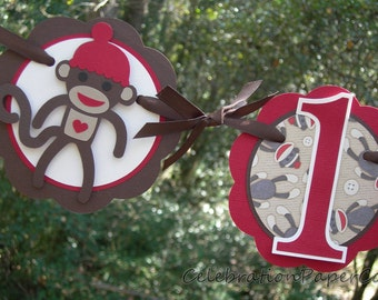 Sock Monkey Highchair Banner READY TO SHIP