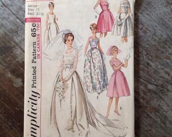 Vintage Simplicity 5343 Sewing Pattern Wedding Dress Junior Size 11 Bust 31 1/2